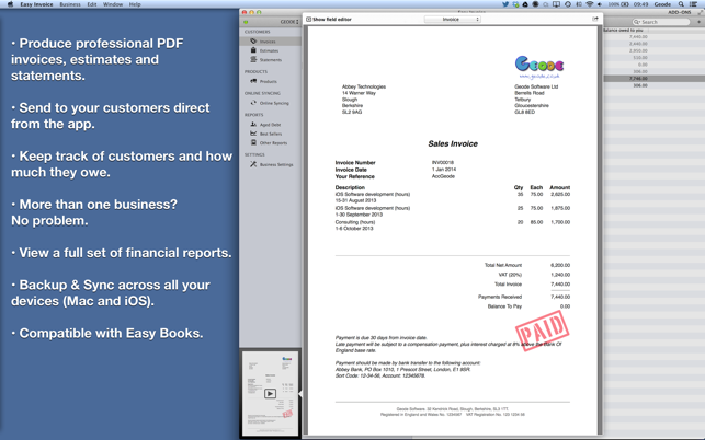Easy Invoice PDF Generator On The Mac App Store - Free invoice generator software for service business