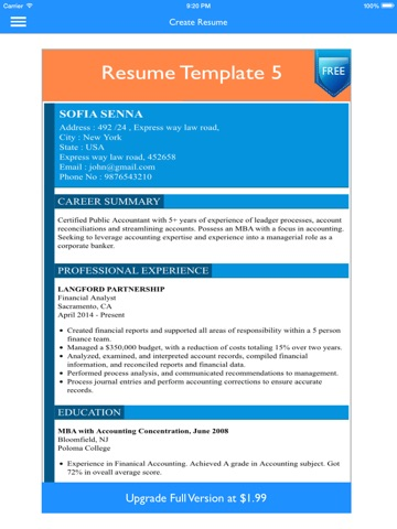 Screenshot #1 For Free Resume Builder App   Professional CV Maker And  Resumes Designer ...