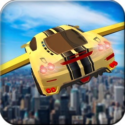 Futuristic Flying Car Drive 3D - Extreme Car Driving Simulator with Muscle Car & Airplane Flight Pilot FREE