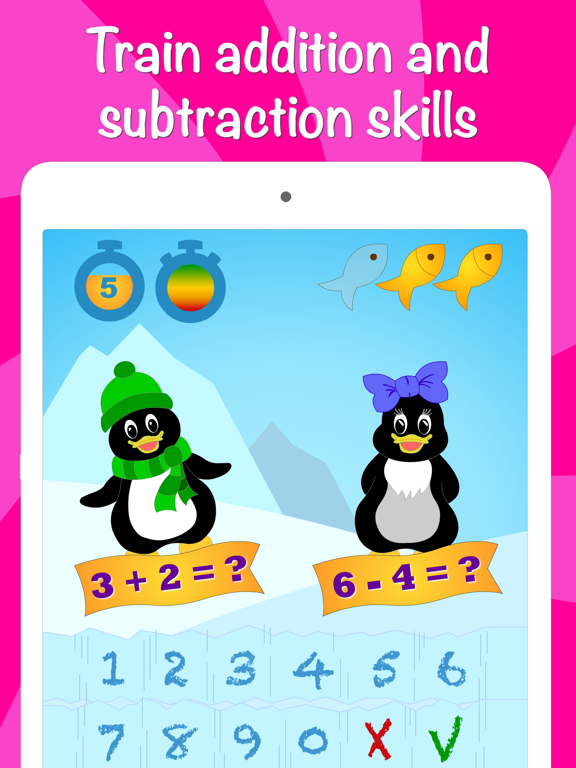Icy Math Free Addition and Subtraction game for kids and