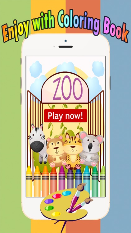 Zoo animals Coloring Book: Move finger to draw these coloring pages games free for children and toddler any age