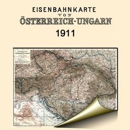 Austria-Hungary (1911). Historical map.