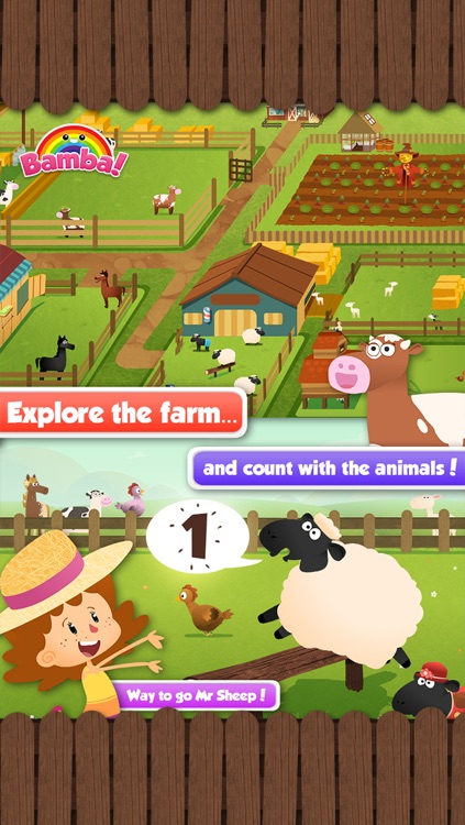 Bamba Farm (Free) - Learn about numbers and animals screenshot-3