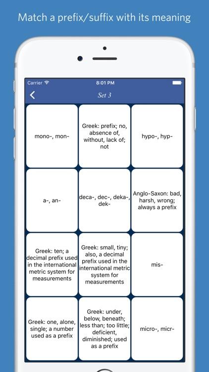 English Prefixes and Suffixes - quiz, flashcard screenshot-3