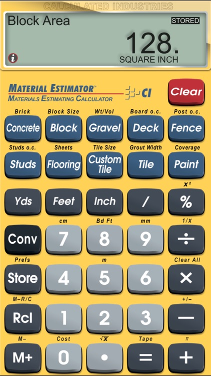 Material Estimator -- Feet Inch Fraction Construction Math and Building Materials Estimating Calculator for Contractors, Designers, Remodelers, Engineers, Architects, and other Building Professionals