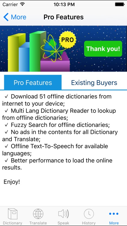 Multi Lang Dictionary and Translator + Text to Speech with English Spanish Chinese French German Korean Russian and more! screenshot-4