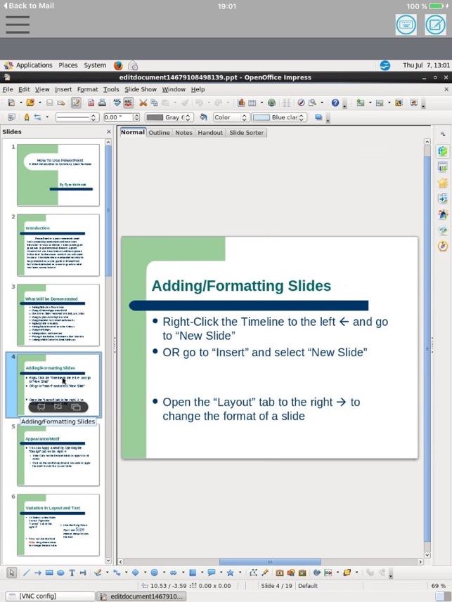 XOfficeImpress - Open Office Suite for ppt slides on the App