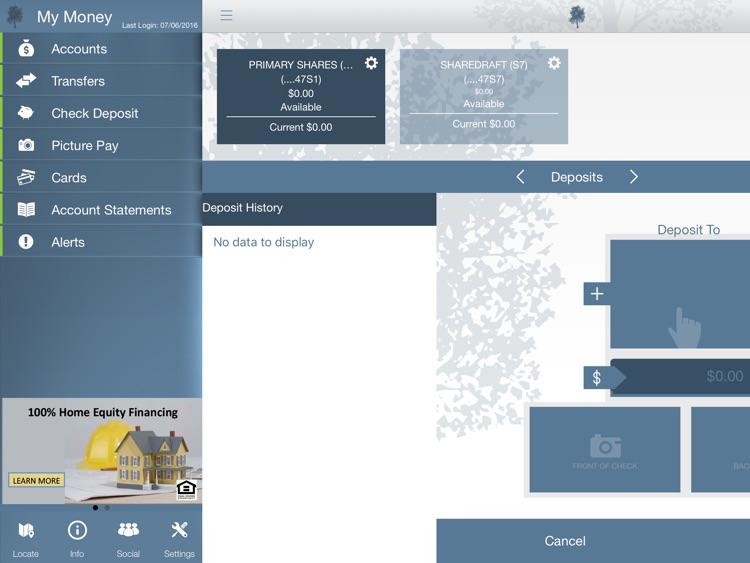 Cedar Falls Community Credit Union Mobile App for iPad
