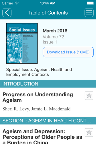 Screenshot of Journal of Social Issues