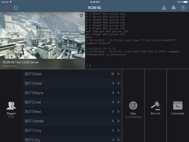 RCON HQ for iPad - Game Server Admin