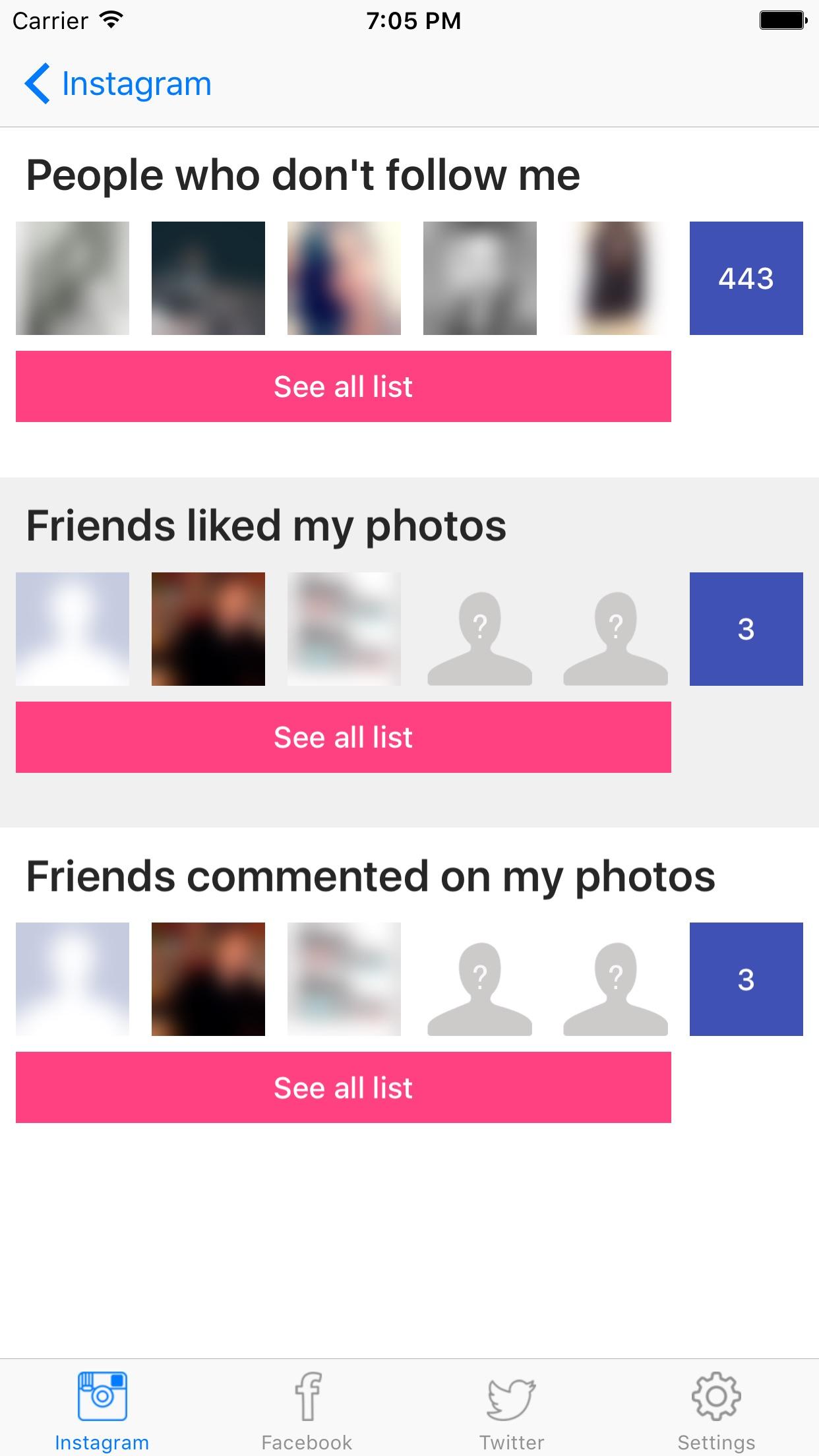 Social Analyser - Detailed follower report Screenshot