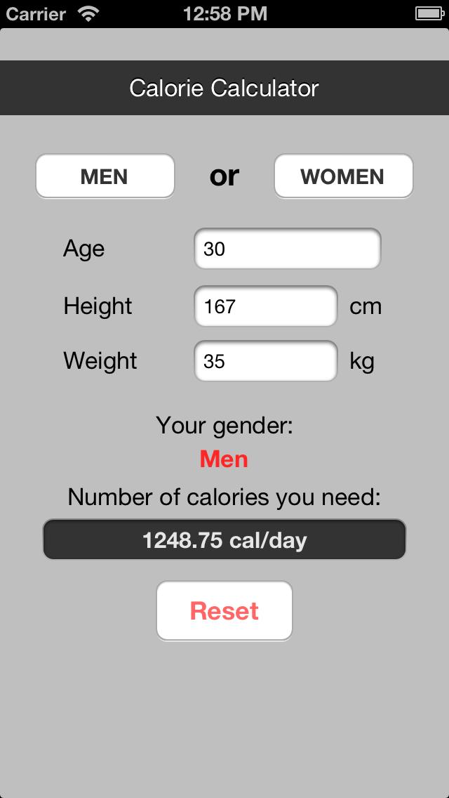 Calorie Counter (BMR) screenshot two