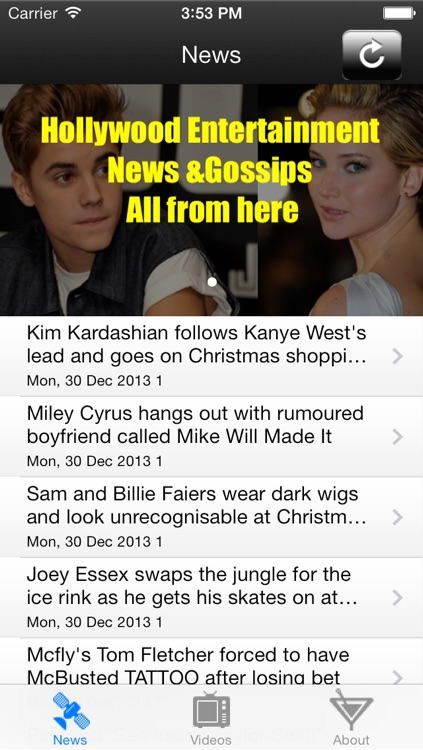 Entertainment celebrities Movie Stars Gossip News and Video screenshot-3