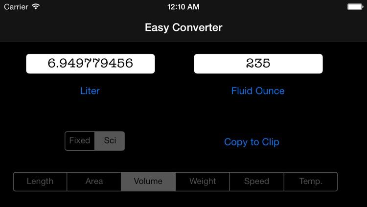 Easy Converter Free - universal unit convert ( length, area, volume, speed, weight, temperature ) screenshot-3
