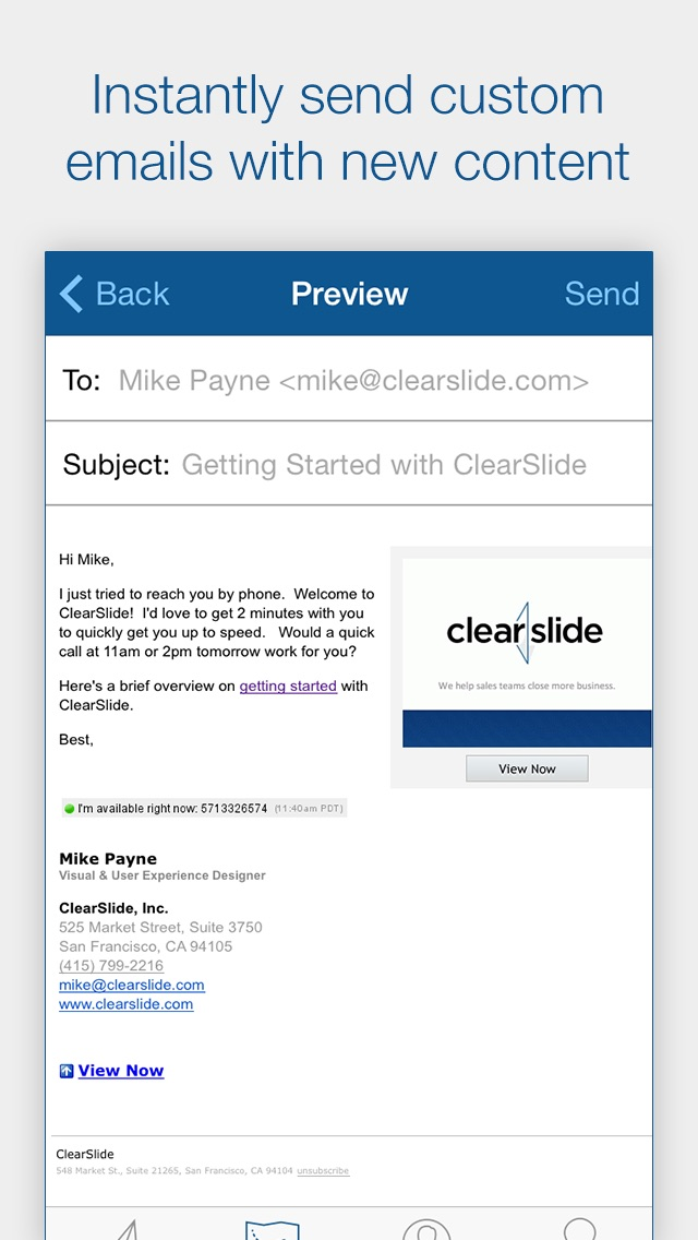 Clearslide connect track email scan business cards and follow up clearslide connect track email scan business cards and follow up with leads screenshot reheart Image collections