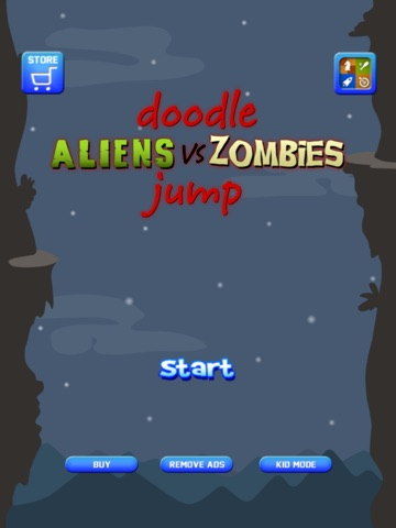 Screenshot #2 for Doodle Alien vs Zombies Jump Game - Heads Up While Also Killing The Pacific Rim Plants!