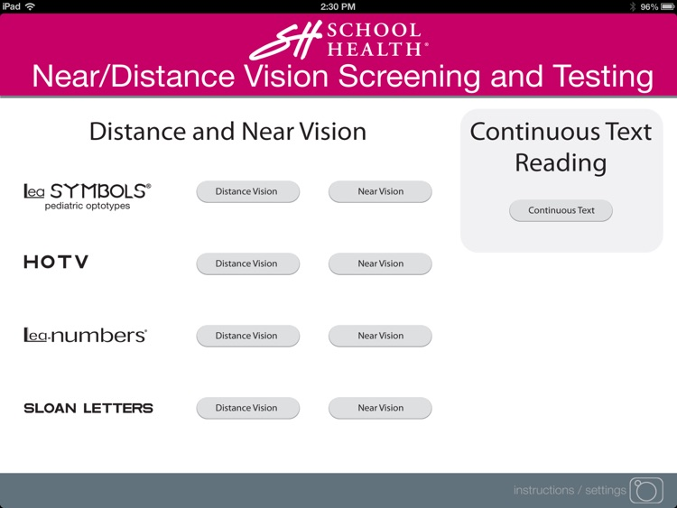 School Health Near/Distance Vision Screening and Testing