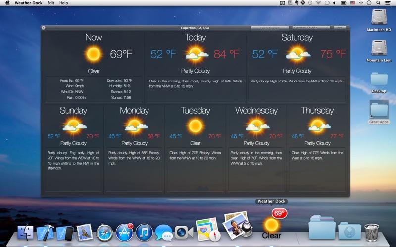 Weather Dock+ Desktop forecast Screenshot