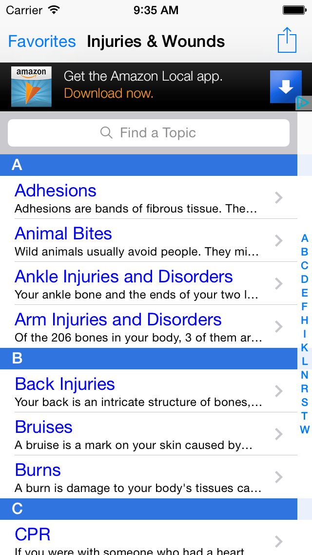 Injuries & Wounds: First Aid, CPR & Choking, Wound Care Terminology Central screenshot one