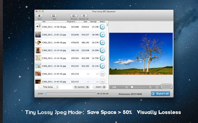 Lossless Photo Squeezer - Reduce Image Size Screenshot