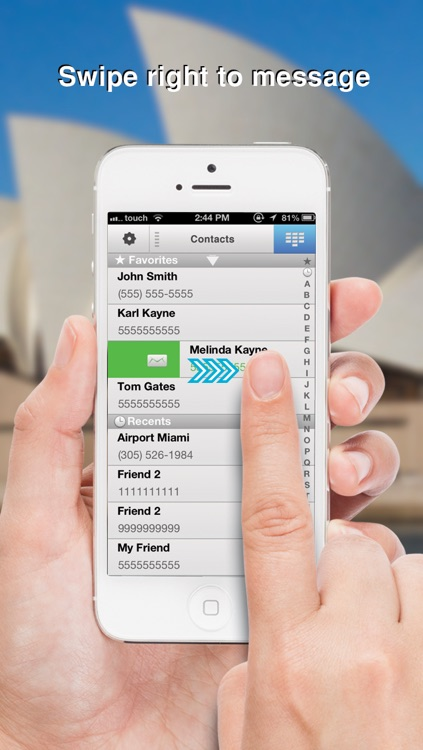 Swipe To iMessage or SMS - Tap to Call & Facetime - By ReachFast Contacts screenshot-1