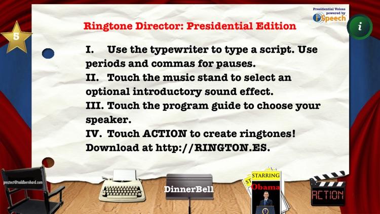 Presidential Ringtone Director: Obama & Bush TTS Voices for Talking CallerID Ringtones screenshot-3