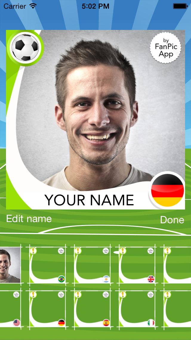 Foto do FanPic App Football - Copa do Mundo para fãs de futebol da equipe nacional do Brasil 2014, com molduras, imagens, edição, cabine de fotos. Para o campeonato, jogos, resultados, notícias, pontuação, cronograma, horários, liga, ao vivo