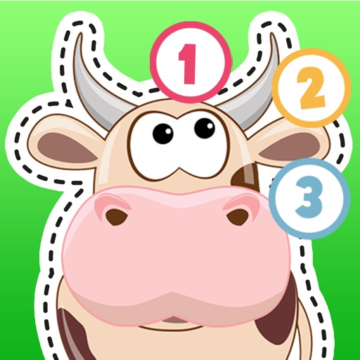 Kids Puzzle Teach me Tracing & Counting with Farm Animals Cartoon learn that the cow sleeps in the barnyard, the chicken lays eggs and the piggy loves mud icon
