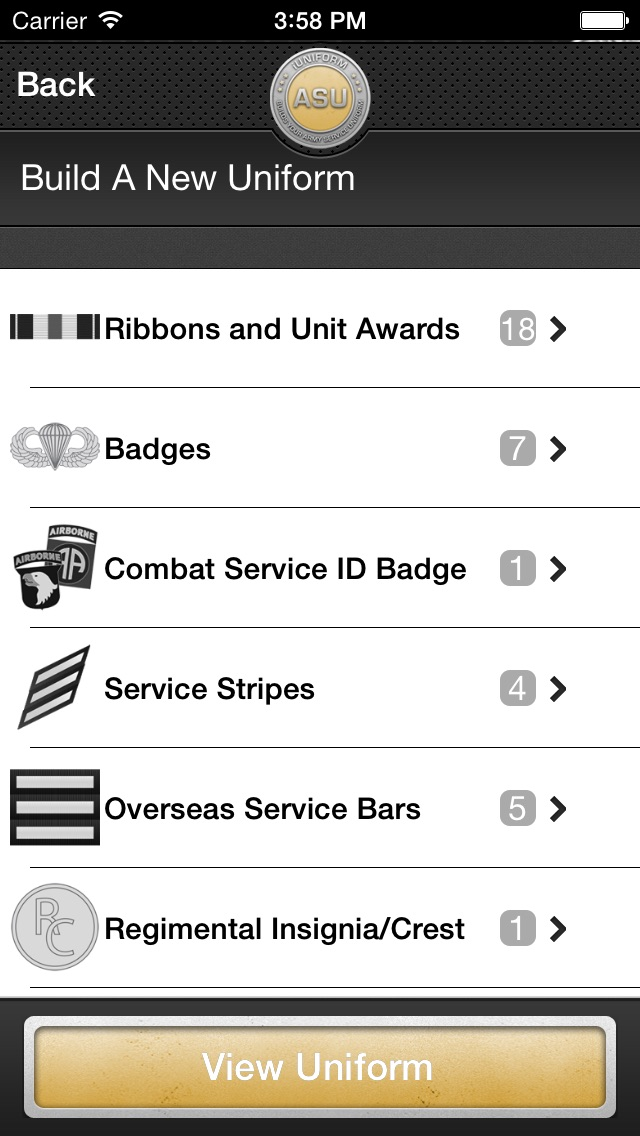 iUniform ASU - Builds Your Army Service Uniform Screenshot
