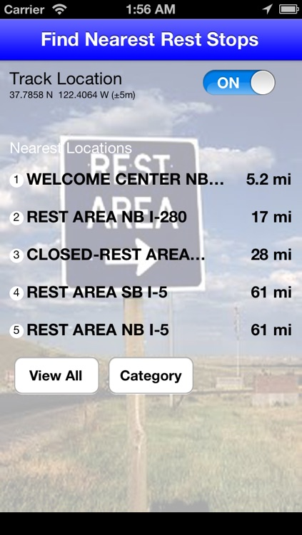 Find Nearest Rest Stops