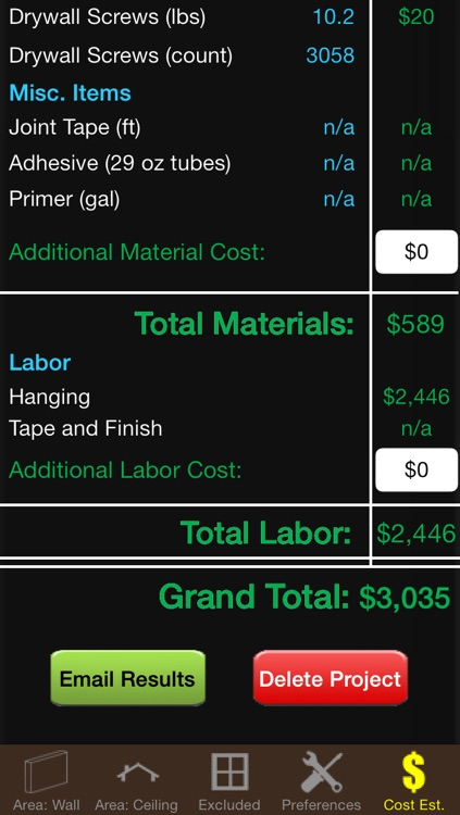 Drywall Calc Elite - Industry leading drywall cost and material calculator screenshot-4