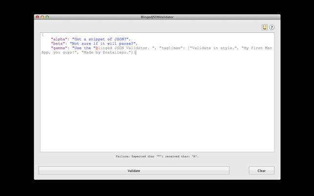 Blinged JSON Validator on the Mac App Store