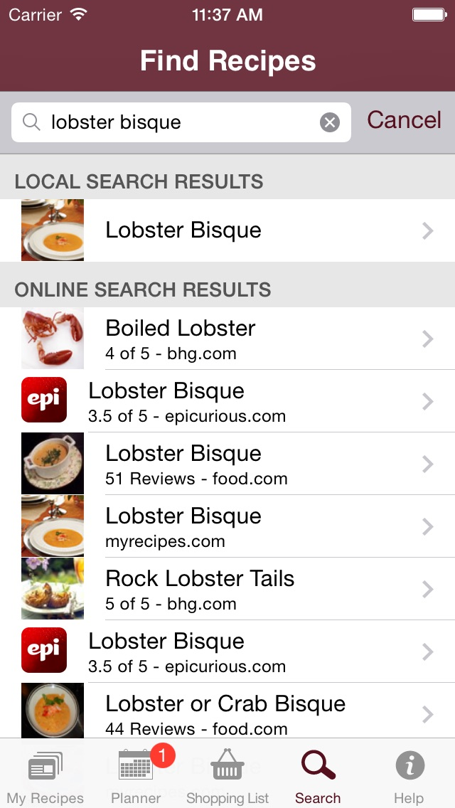 Recipe Cookbook And Shopping List Screenshot Whats For Dinner