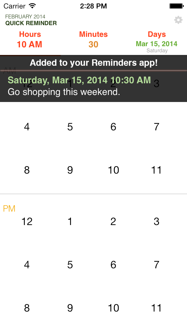 Quick Reminders: Super fast way to create a reminder screenshot three