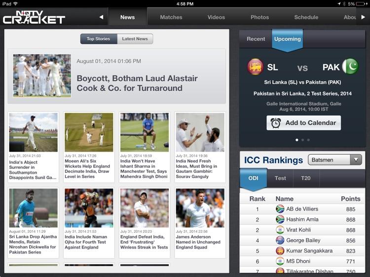 NDTV Cricket for iPad