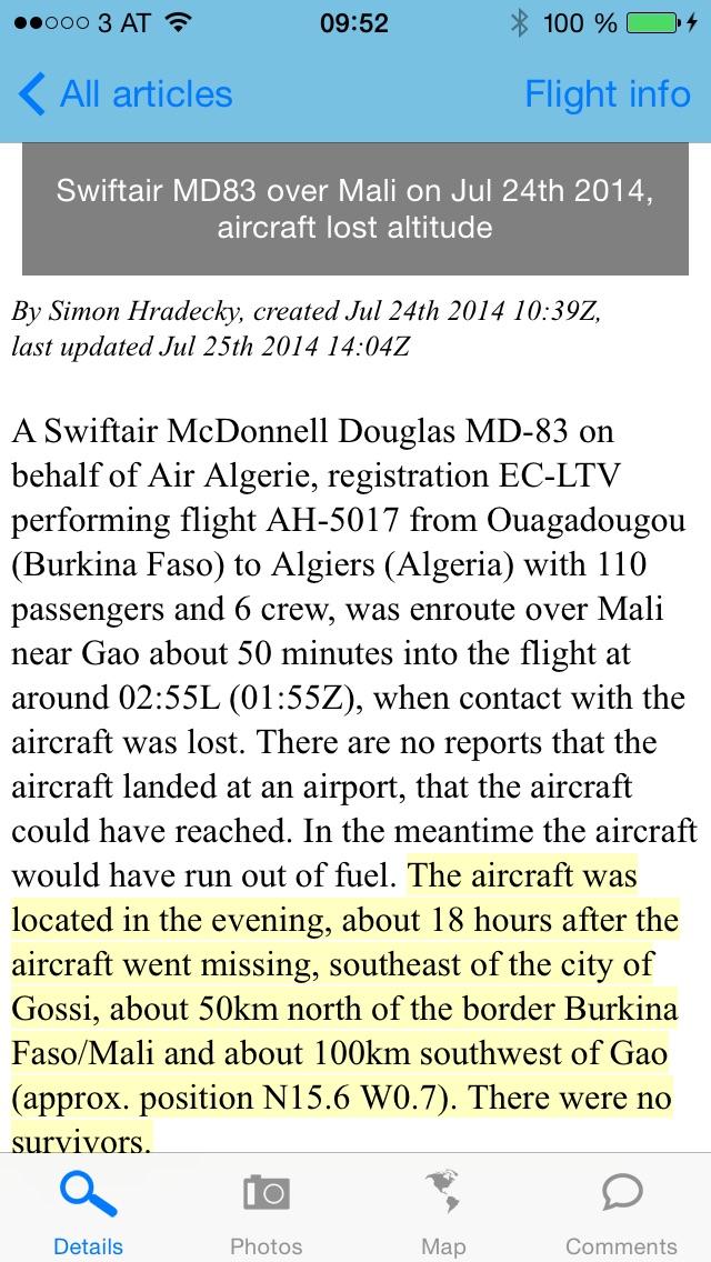 The Aviation Herald screenshot1