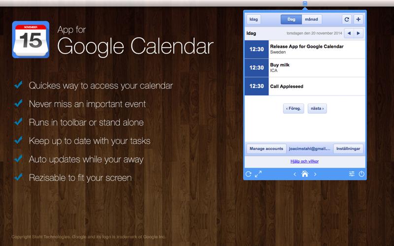 App For Google Calendar Toolbar Desktop By Joacim Stahl