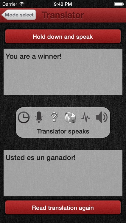 Voice Translator with speech recognition - Does translate understand and speak 29 languages like Spanish English Russian French Czech or German - Dictate and hear the app read its translation to study or exchange with foreign speakers like an interpreter