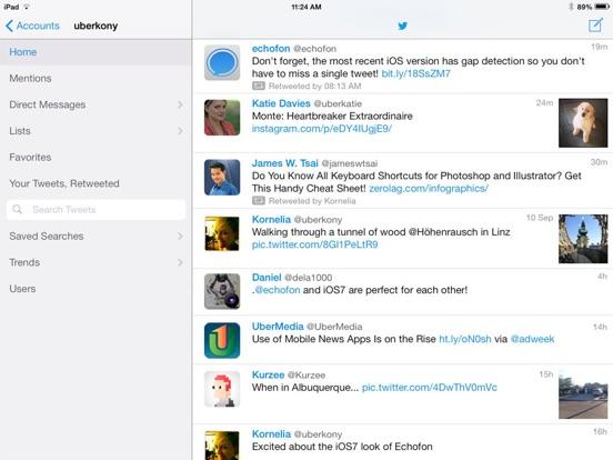 Screenshots of Echofon for Twitter for iPad