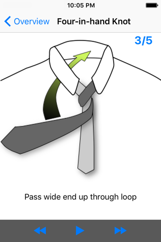 Screenshot of vTie - tie a tie guide with style for business, interview, wedding, party
