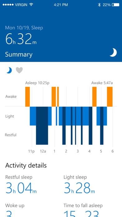 Screenshots of Microsoft Health for iPhone