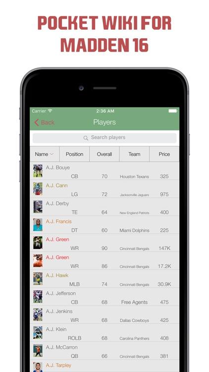Pocket Wiki for Madden NFL 16