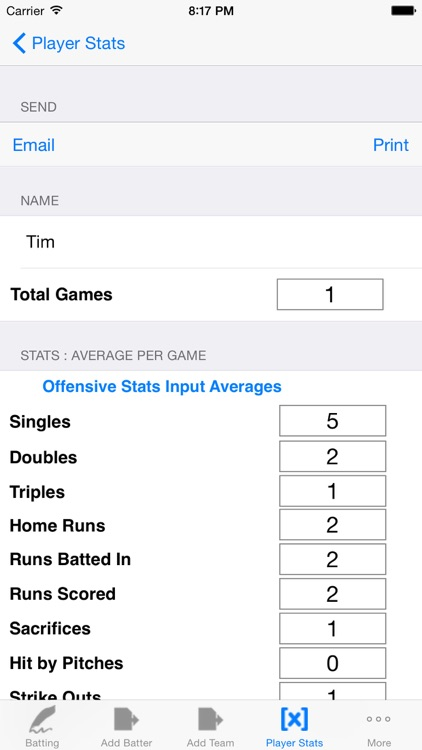 Batting Tracker : Baseball Stats for Players