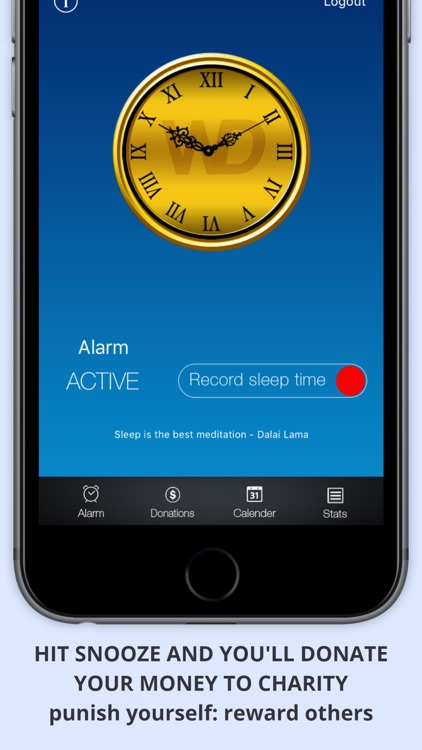 WAKEorDONATE Free AlarmClock. Sleep in for Charity screenshot-0