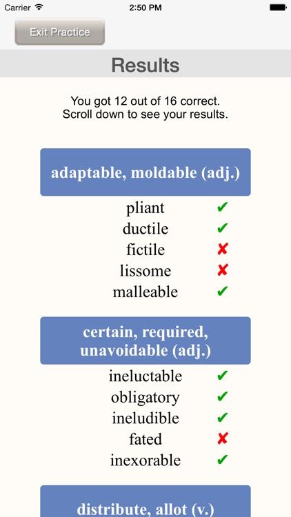 Worducate unique vocab flashcards – thesaurus vocabulary test prep SAT GRE ACT GMAT verbal screenshot-4