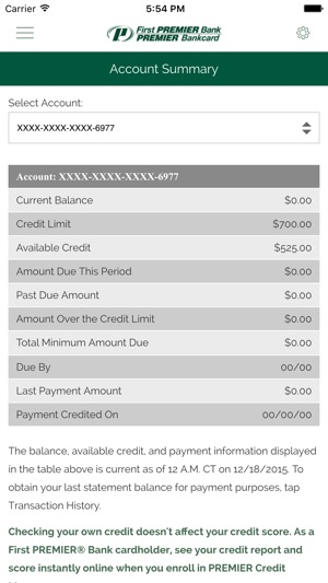 My Premier Credit Card On The App Store