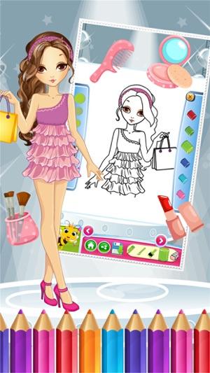 Pretty Fashion Girl Color Book dibujo para colorear juego Pintura ...