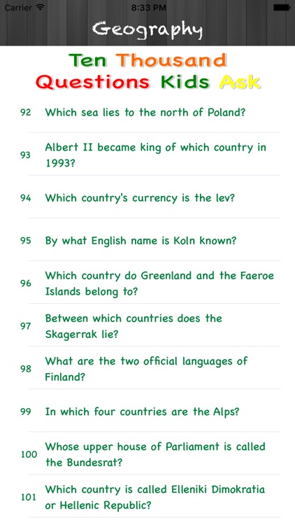 Ten Thousand Questions Kids Ask : Geography