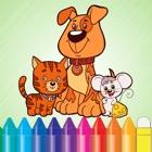 动物狗猫鼠及着色书 - 图纸进行儿童游戏 icon