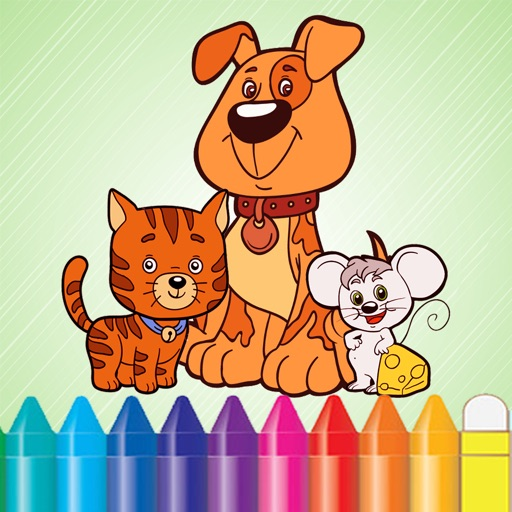 Animal Dog Cat & Rat Coloring Book - Drawing for Kids Games iOS App